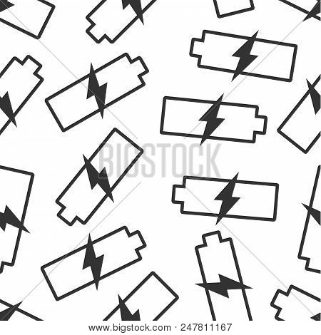 Battery charge level indicator seamless pattern background. Business flat vector illustration. Battery symbol pattern. EPS stock photo