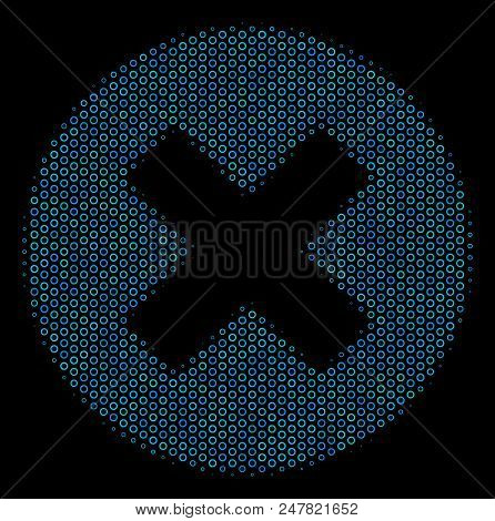 Halftone Cancel composition icon of empty circles in blue color tints on a black background. Vector empty circles are combined into cancel composition. stock photo