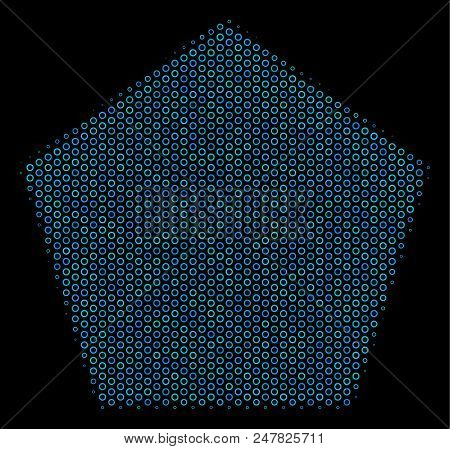 Halftone Filled pentagon collage icon of empty circles in blue shades on a black background. Vector empty circles are organized into filled pentagon mosaic. stock photo