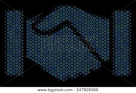 Halftone Handshake mosaic icon of circle elements in blue color tints on a black background. Vector contour donuts are combined into handshake mosaic. stock photo