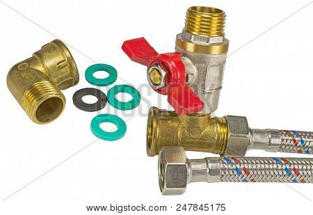 flexible fitting, ball valve and o-ring gaskets on white background stock photo
