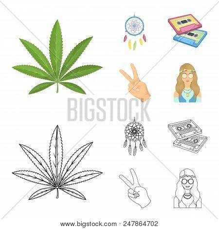 Amulet, hippie girl, freedom sign, old cassette.Hippy set collection icons in cartoon, outline style vector symbol stock illustration. stock photo