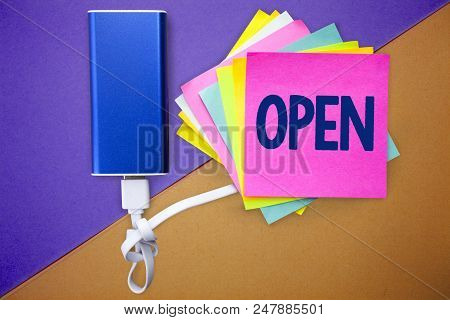 Word writing text Open. Business concept for Allow things to pass through or for immediate use Contrary of closed Multiple colour sticky remember cards data cable learn send message stock photo