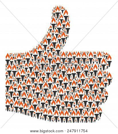 Validate figure built with fire torch items in variable sizes. Abstract vector thumb finger up concept. Fire torch icons are combined into good rating shape. stock photo