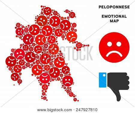 Emotional Peloponnese Peninsula map mosaic of sad emojis in red colors. Negative mood vector template of crisis regions. Peloponnese Peninsula map is composed from red sad icons. Abstract area scheme. stock photo