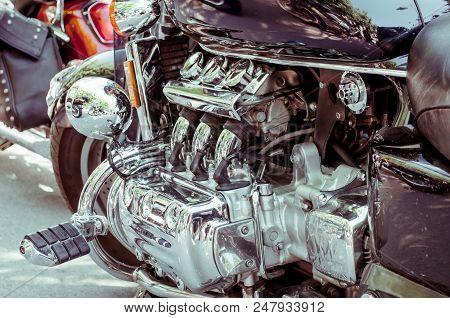 chrome parts of motorcycle engine, motorcycle engine stock photo