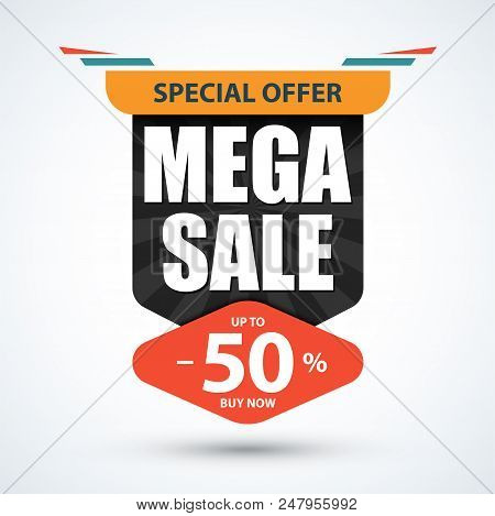 Mega Sale banner. Special offer design. Discount, 50 percent off template. Vector illustration. stock photo