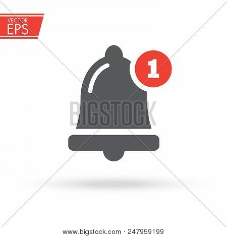 News and updates symbol, Alarm, service bell, handbell sign. Notification icon vector, material design, Social Media element, User Interface sign, EPS, UI, Image, Illustration. New message. stock photo