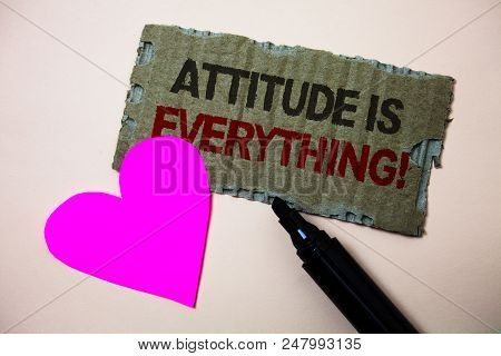 Text sign showing Attitude Is Everything. Conceptual photo Personal Outlook Perspective Orientation Behavior Brown paperboard rough ideas message heart wild love lovely intentions stock photo