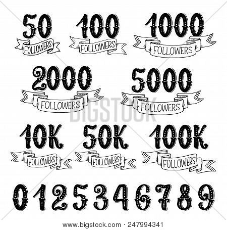 Followers quantity number icons for social nets subscribers. Vector isolated numbers lettering in retro design set of 10, 100 hundreds and thousands followers for social net victory ribbons stock photo