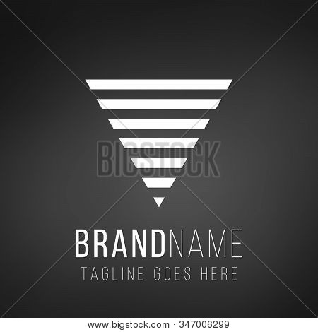 Futuristic abstract geometric triangle logo design made out of stipes. Corporate tech geometric identity concept. Stock Vector illustration isolated on black background. stock photo