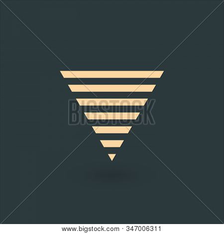 Futuristic abstract geometric triangle logo design made out of stipes. Corporate tech geometric identity concept. Stock Vector illustration isolated on green background. stock photo