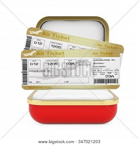 Two Golden Business or First Class Airline Boarding Pass Fly Air Tickets in the Red Gift Box on a white background. 3d Rendering stock photo