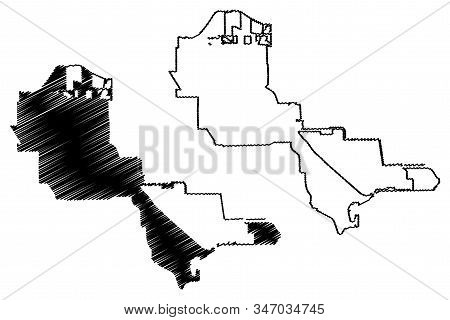 Pasadena City, Texas (United States cities, United States of America, usa city) map vector illustration, scribble sketch City of Pasadena map stock photo