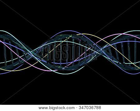 DNA chain. Abstract scientific background. Beautiful illustraion. Biotechnology, biochemistry, genetics and medicine concept. 3D rendering stock photo