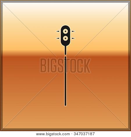 Black Medieval chained mace ball icon isolated on gold background. Medieval weapon. Vector Illustration stock photo