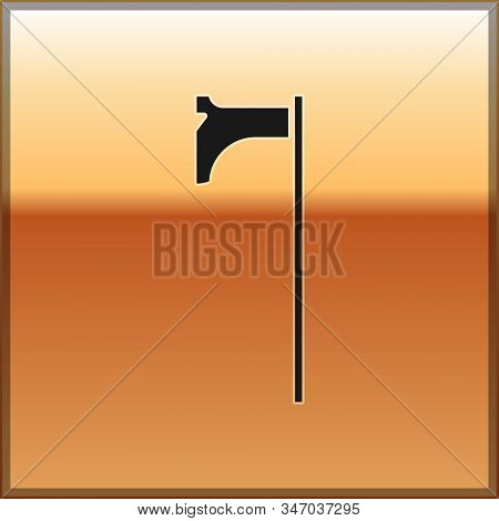 Black Medieval axe icon isolated on gold background. Battle axe, executioner axe. Medieval weapon. Vector Illustration stock photo