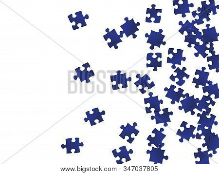 Game crux jigsaw puzzle dark blue pieces vector background. Scatter of puzzle pieces isolated on white. Teamwork abstract concept. Jigsaw pieces clip art. stock photo