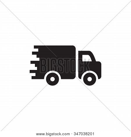 Logistics delivery truck vector icon flat style illustration for web, mobile, logo, application and graphic design. Logistics delivery truck vector icon simple sign and modern symbol, EPS10. Logistics delivery truck vector icon pictogram isolated on white stock photo