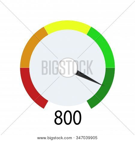 Credit score indicator for get cash in bank. Device indicate level payable client. Hight number for loan or mortage. Vector illustration loan level in credit history stock photo