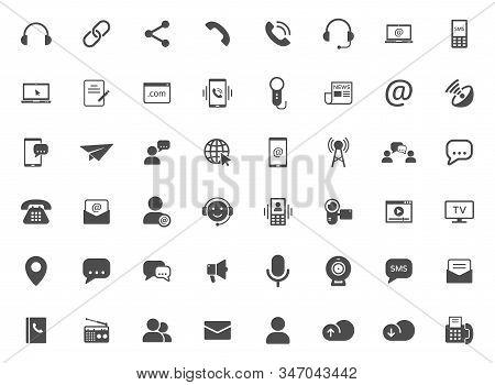 media communication vector icons set isolated on white background. internet communication concept. communication flat icons for web and ui design stock photo