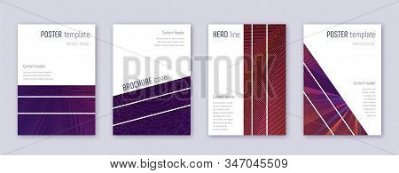 Geometric brochure design template set. Violet abstract lines on dark background. Amazing brochure design. Awesome catalog, poster, book template etc. stock photo