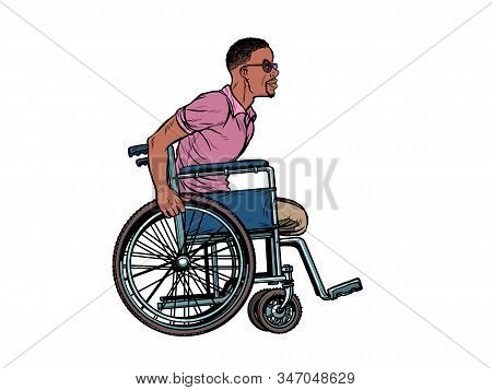 legless african man disabled veteran in a wheelchair. pop art retro vector illustration kitsch vintage drawing 50s 60s stock photo