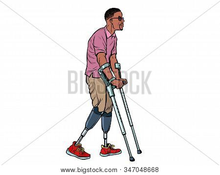 legless african veteran with a bionic prosthesis with crutches. a disabled man learns to walk after an injury. rehabilitation treatment and recovery. pop art retro vector illustration kitsch vintage drawing 50s 60s stock photo