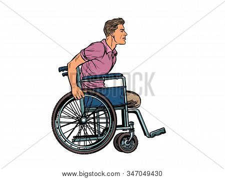 legless man disabled veteran in a wheelchair. pop art retro vector illustration kitsch vintage drawing 50s 60s stock photo
