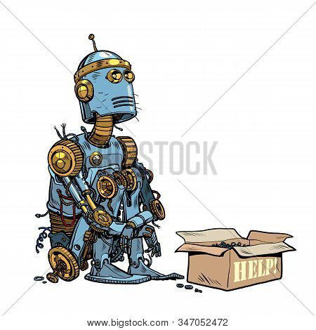 Beggar homeless robot asks for alms. Pop art retro vector illustration 50s 60s style stock photo