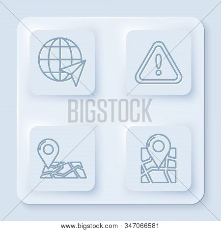 Set line Location on the globe, Exclamation mark in triangle, Folded map with location marker and Folded map with location marker. White square button. Vector stock photo