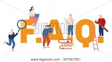 Frequently Asked Questions Concept. People Characters Standing near Faq Typography Ask Questions and Receive Answers Online Support Center Poster Banner Flyer Brochure Cartoon Flat Vector Illustration stock photo