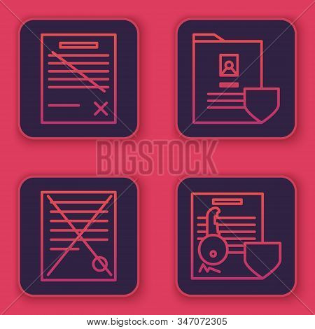 Set line Delete file document, Delete file document, Document with shield and Document with key with shield. Blue square button. Vector stock photo