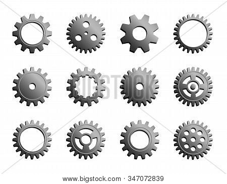 Vector Mechanical Cogwheel Collection. Set Of Silver Gear Wheels And Cogs, Grey Volumetric Icons, Different Configuration, Round Details. Gears Can Be Combined Into Mechanism By Changing Size. stock photo