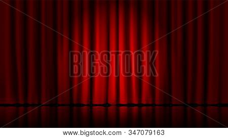 Stage curtains light by searchlight. Realistic theater red dramatic curtains, spotlight on stage theatrical classic drapery vector template illustration. Circus and movie hall, standup interior scene stock photo