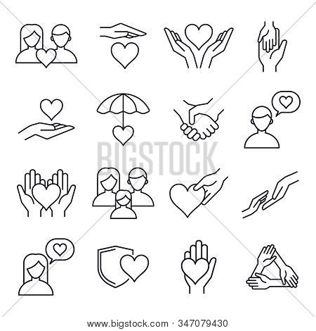 Love and kindness heart line icons. Friend, family, relationship and romantic heart signs, line art love heart elements, people relationships and friendship, volunteer vector isolated outline icons stock photo