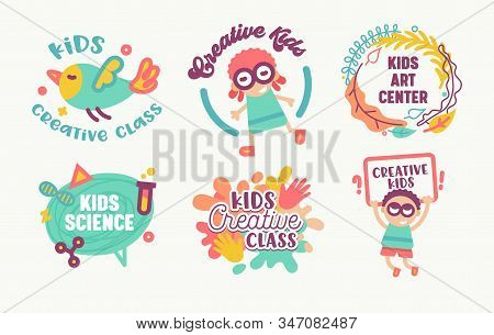Big Icons Set Kids Art Center, Creative Class, Science Banners or Badges Isolated on White Background. Primitive Style Characters Design Elements with Typography, Logo Cartoon Flat Vector Illustration stock photo