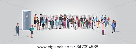 businesspeople candidates standing in line queue to door office hiring job employment concept different occupation workers group waiting for interview horizontal full length vector illustration stock photo