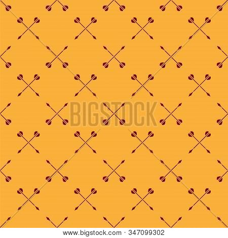 Red Medieval crossed arrows icon isolated seamless pattern on brown background. Medieval weapon. Vector Illustration stock photo