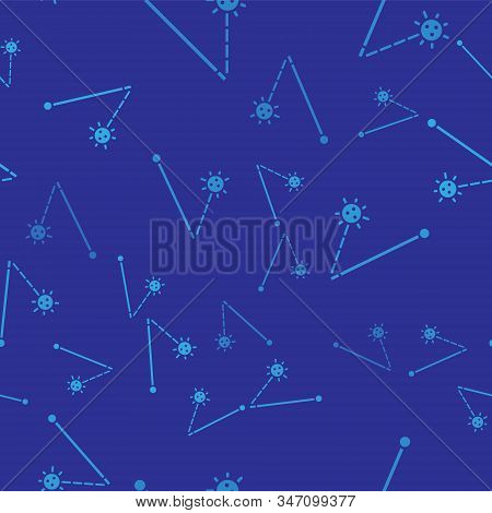 Blue Medieval chained mace ball icon isolated seamless pattern on blue background. Medieval weapon. Vector Illustration stock photo