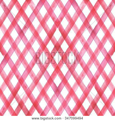 Watercolor stripe diagonal plaid seamless pattern. Red stripes on white background. Watercolour hand drawn striped texture. Print for cloth design, textile, fabric, wallpaper, wrapping, tile. stock photo