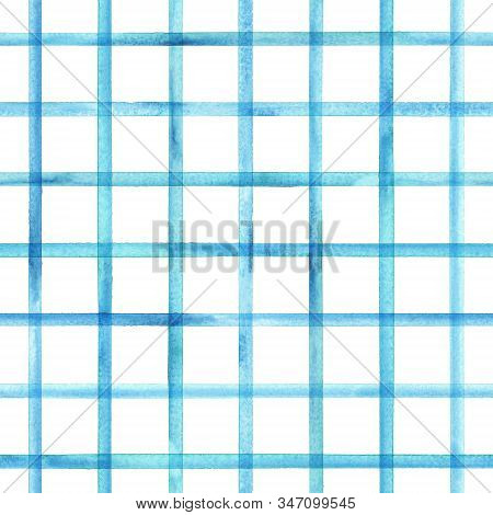 Watercolor stripe plaid seamless pattern. Blue teal stripes on white background. Watercolour hand drawn striped texture. Print for cloth design, textile, fabric, wallpaper, wrapping, tile. stock photo
