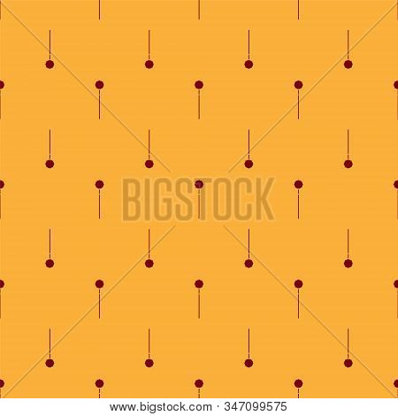 Red Medieval chained mace ball icon isolated seamless pattern on brown background. Medieval weapon. Vector Illustration stock photo