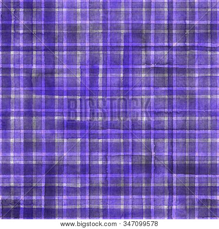 Watercolor stripe plaid seamless pattern. Colorful purple grey stripes background. Watercolour hand drawn striped texture. Print for cloth design, textile, fabric, wallpaper, wrapping, tile. stock photo