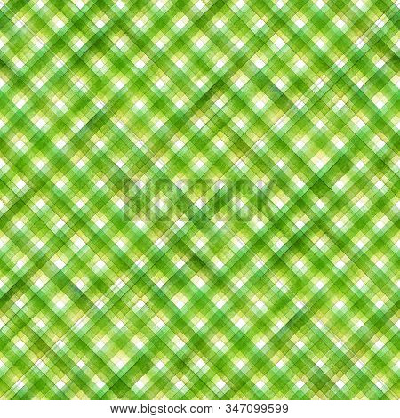 Watercolor stripe diagonal plaid seamless pattern. Green stripes on white background. Watercolour hand drawn striped texture. Print for cloth design, textile, fabric, wallpaper, wrapping, tile. stock photo