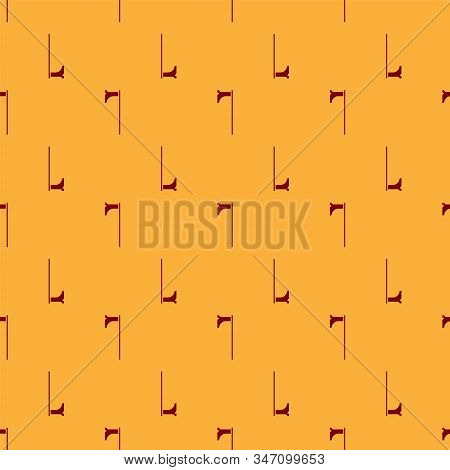 Red Medieval axe icon isolated seamless pattern on brown background. Battle axe, executioner axe. Medieval weapon. Vector Illustration stock photo