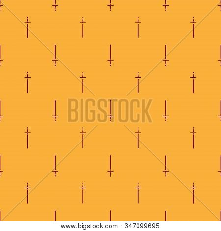 Red Medieval sword icon isolated seamless pattern on brown background. Medieval weapon. Vector Illustration stock photo