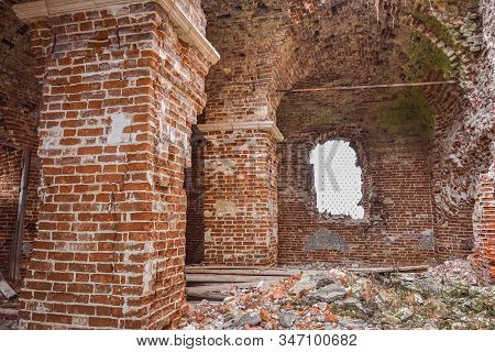 Abandoned Savior Church in Saltykovo, an inactive Christian church, the interior of an abandoned church, a crumbling church in the village stock photo