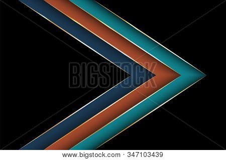Polygonal arrow with gold triangle edge lines banner vector design. Luxury poster background template. Blank banner layout design. Poly gradient shapes with metallic glossy edge lines. stock photo