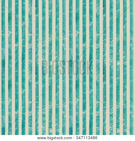 Vintage paper. Watercolor stripe seamless pattern. Teal turquoise stripes background. Watercolour hand drawn striped old grunge texture. Print for cloth design, textile, fabric, wallpaper, wrapping. stock photo
